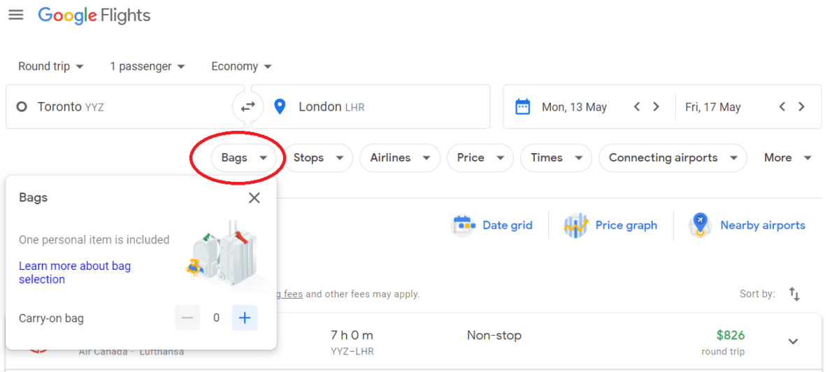 Baggage fees on google flights