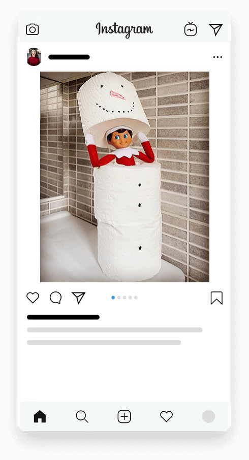 Elf playing with toilet paper rolls